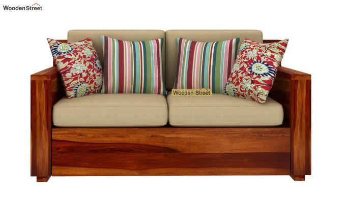 Marriott 2 Seater Wooden Sofa (Honey Finish)-2
