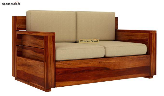 Marriott 2 Seater Wooden Sofa (Honey Finish)-3