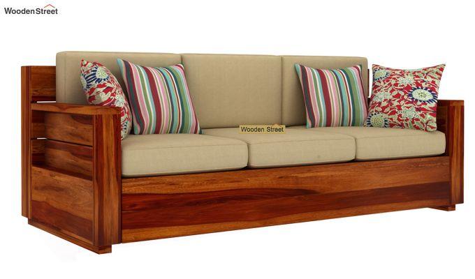 Marriott 3 Seater Wooden Sofa (Honey Finish)-2