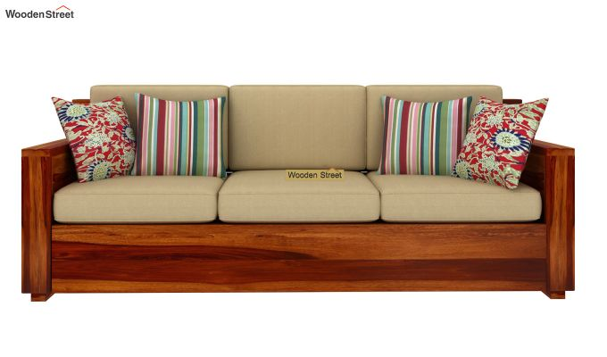 Marriott 3 Seater Wooden Sofa (Honey Finish)-3
