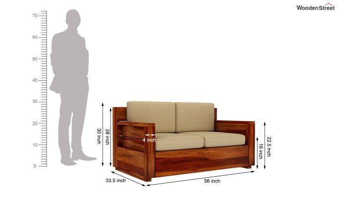 Marriott 2 Seater Wooden Sofa (Honey Finish)-4