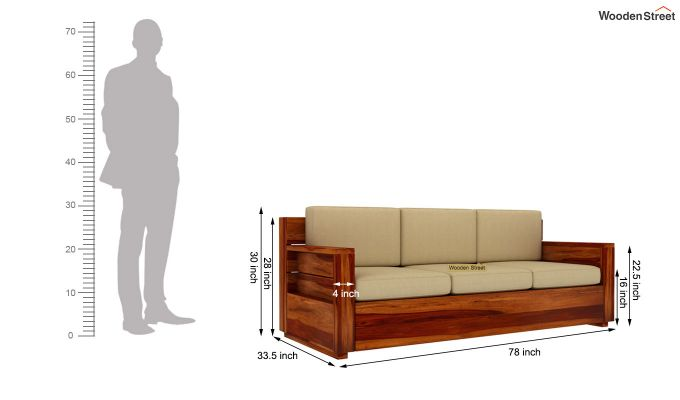 Marriott 3 Seater Wooden Sofa (Honey Finish)-5