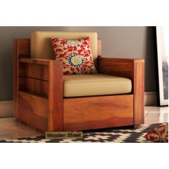 Marriott 1 Seater Wooden Sofa (Honey Finish)