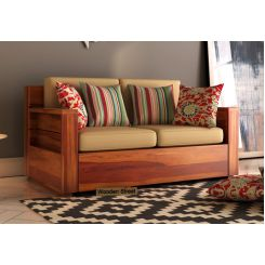 Marriott 2 Seater Wooden Sofa (Honey Finish)
