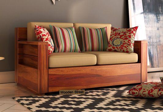 Marriott 2 Seater Wooden Sofa (Honey Finish)
