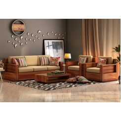 Marriott Wooden Sofa 3+1+1 Set (Honey Finish)