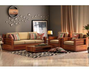 Marriott Wooden Sofa 3+1+1 Set (Honey Finish)