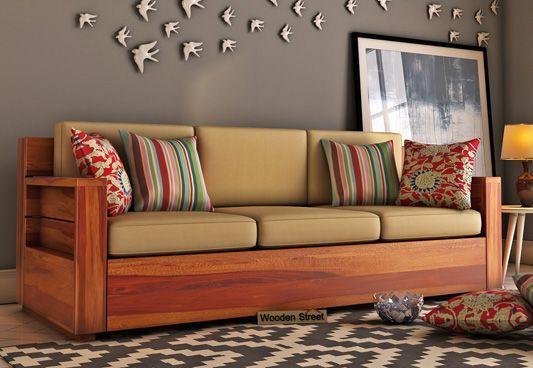Marriott 3 Seater Wooden Sofa (Honey Finish)