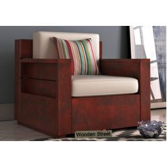 Marriott 1 Seater Wooden Sofa (Mahogany Finish)