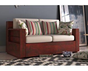 Marriott 2 Seater Wooden Sofa (Mahogany Finish)