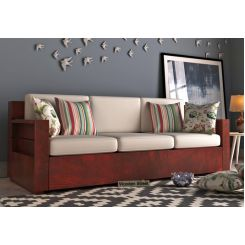 Marriott 3 Seater Wooden Sofa (Mahogany Finish)