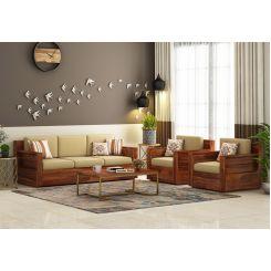 Buy Marriott Wooden Sofa 3+1+1 Set (Honey Finish) Online ...