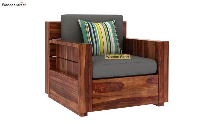 Marriott 1 Seater Wooden Sofa (Teak Finish)-2