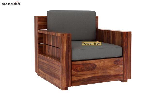 Marriott 1 Seater Wooden Sofa (Teak Finish)-4