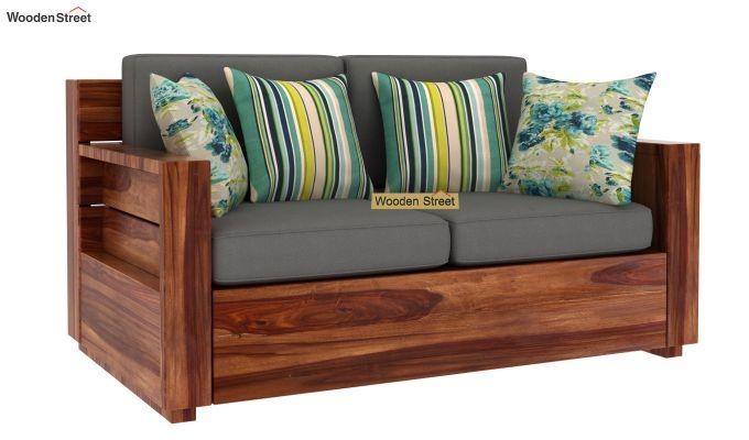 Marriott 2 Seater Wooden Sofa (Teak Finish)-2