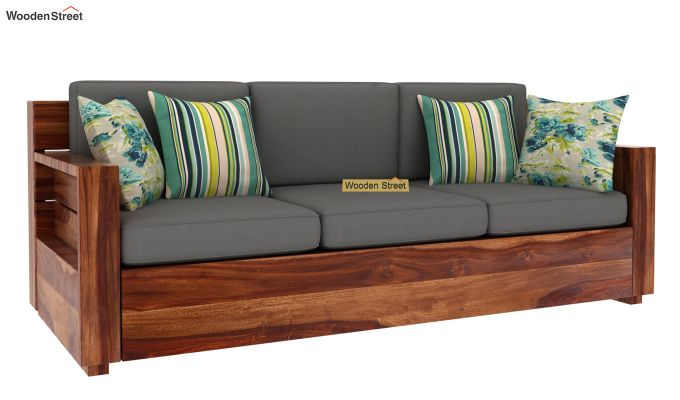 Marriott 3 Seater Wooden Sofa (Teak Finish)-2