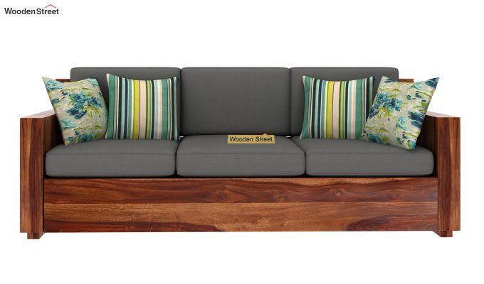 Marriott 3 Seater Wooden Sofa (Teak Finish)-3