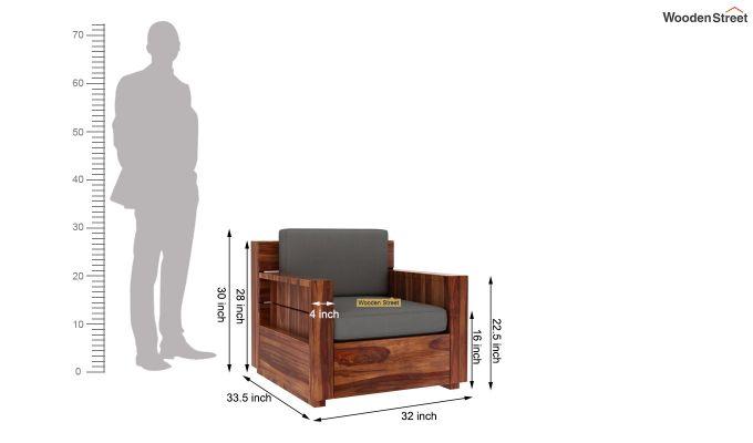 Marriott 1 Seater Wooden Sofa (Teak Finish)-5