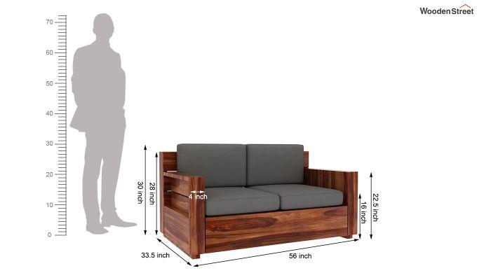 Marriott 2 Seater Wooden Sofa (Teak Finish)-5
