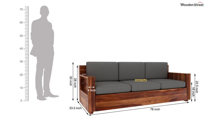 Marriott 3 Seater Wooden Sofa (Teak Finish)-5