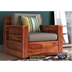 Marriott 1 Seater Wooden Sofa (Teak Finish)