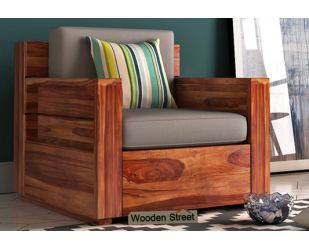 Marriott 1 Seater Wooden Sofa (Teak Finish)