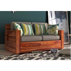 Marriott 2 Seater Wooden Sofa (Teak Finish)