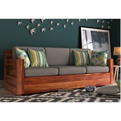 Marriott 3 Seater Wooden Sofa (Teak Finish)