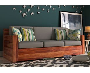 Marriott 3 Seater Wooden Sofa (Teak Finish)