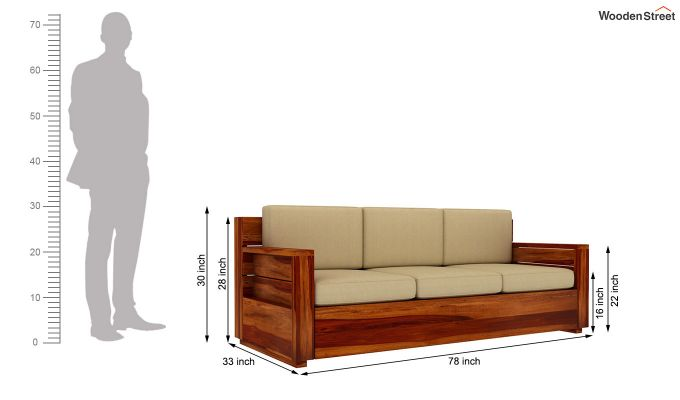 Marriott 3 Seater Wooden Sofa-5