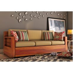 Marriott 3 Seater Wooden Sofa