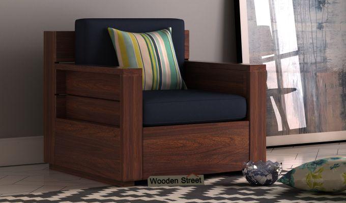 Marriott 1 Seater Wooden Sofa (Walnut Finish)-1