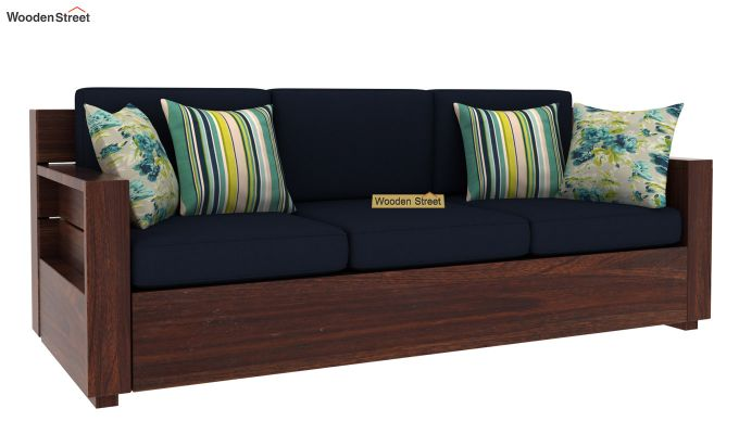 Marriott 3 Seater Wooden Sofa (Walnut Finish)-2