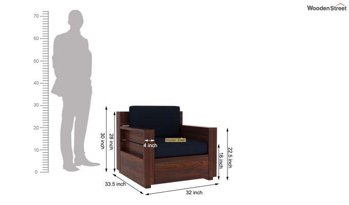Marriott 1 Seater Wooden Sofa (Walnut Finish)-5