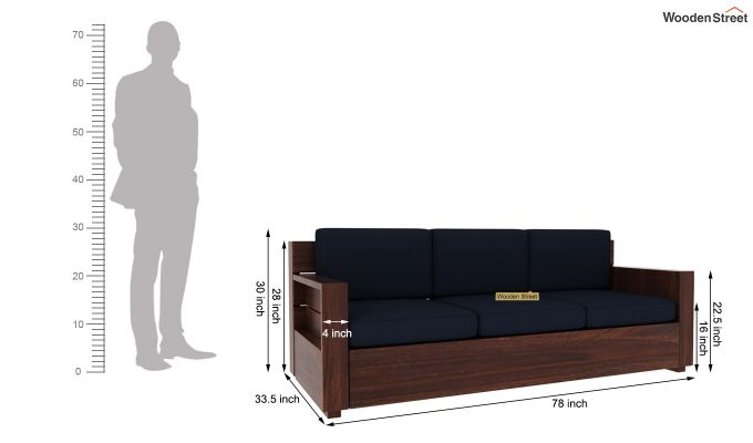 Marriott 3 Seater Wooden Sofa (Walnut Finish)-5