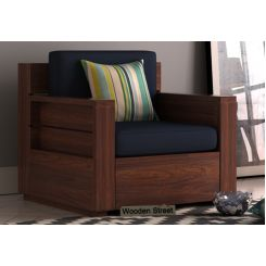 Marriott 1 Seater Wooden Sofa (Walnut Finish)