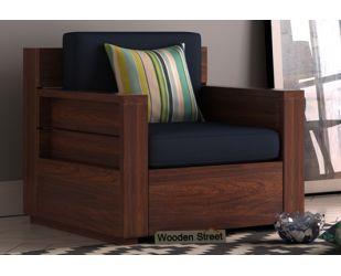 Marriott 1 Seater Wooden Sofa (Walnut Finish)
