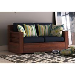 Marriott 2 Seater Wooden Sofa (Walnut Finish)
