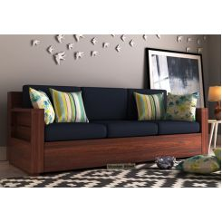 Marriott 3 Seater Wooden Sofa (Walnut Finish)