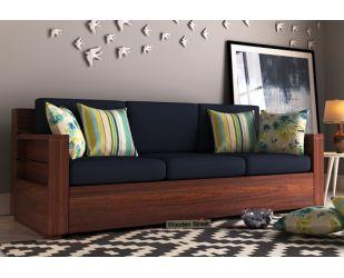 Marriott 3 Seater Wooden Sofa (Walnut Finish)