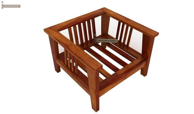 Mcleod 1 Seater Wooden Sofa (Honey Finish)-2
