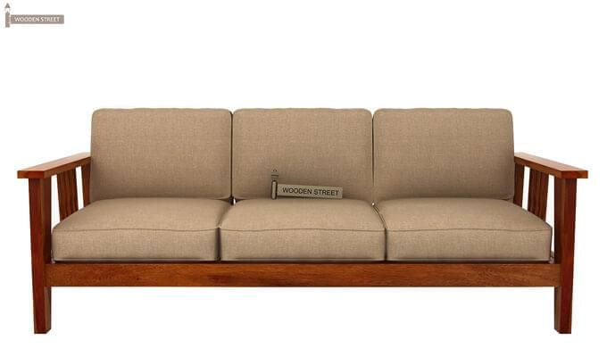 Mcleod 3 Seater Wooden Sofa (Honey Finish)-2