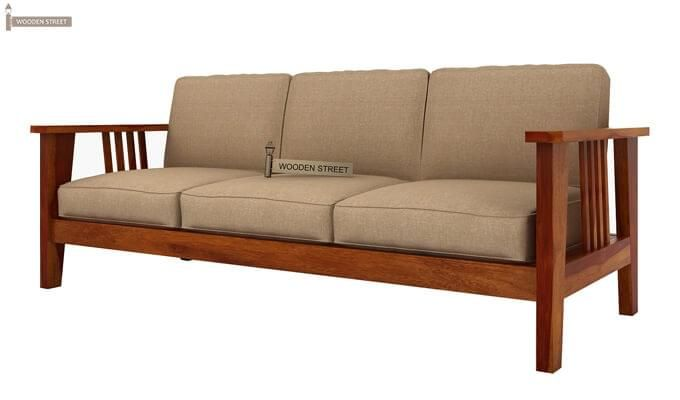 Mcleod 3 Seater Wooden Sofa (Honey Finish)-3