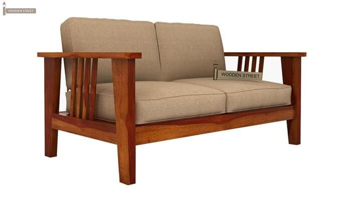 Mcleod 2 Seater Wooden Sofa (Honey Finish)-2