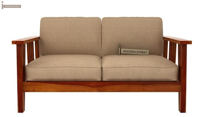 Mcleod 2 Seater Wooden Sofa (Honey Finish)-1