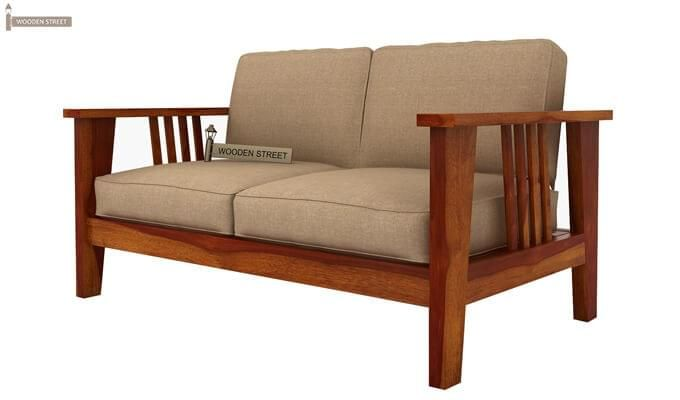 Mcleod 2 Seater Wooden Sofa (Honey Finish)-3