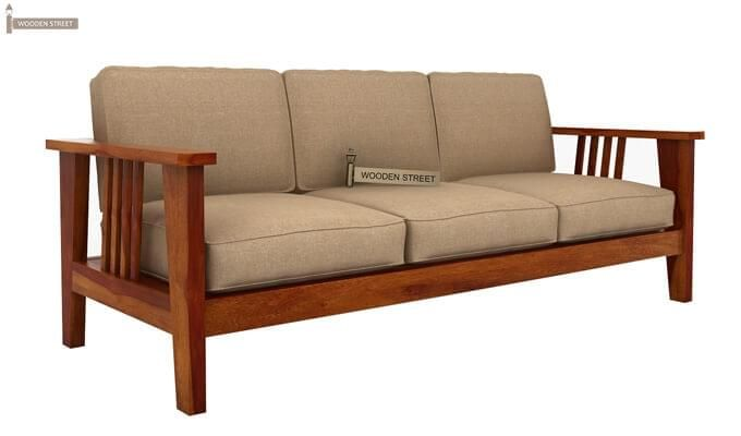 Mcleod 3 Seater Wooden Sofa (Honey Finish)-5