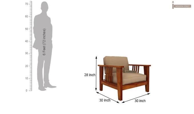 Mcleod 1 Seater Wooden Sofa (Honey Finish)-5