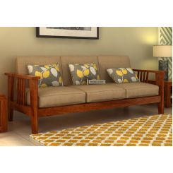 Mcleod 3 Seater Wooden Sofa (Honey Finish)
