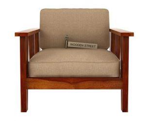 Mcleod 1 Seater Wooden Sofa (Honey Finish)